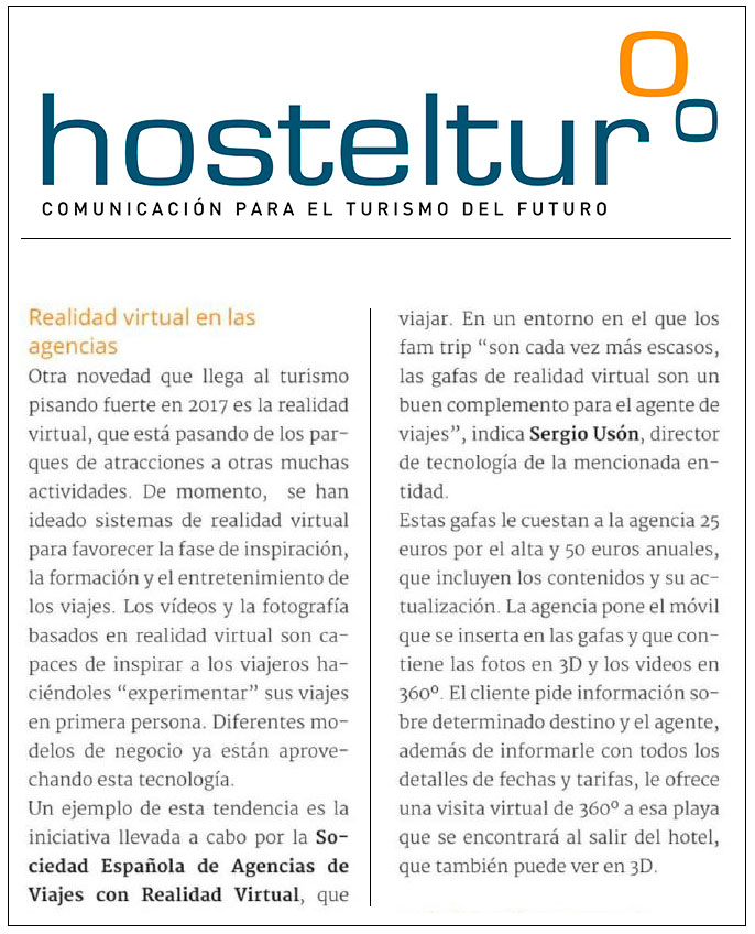 Artículo de Hosteltur sobre Realidad Virtual