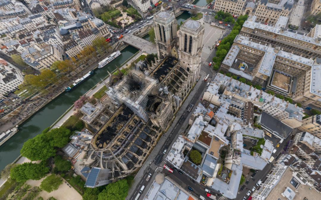 Notre Dame en 360 desde Drone después del incendio
